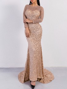 2cfddfda23a Rose Golden Patchwork Grenadine Sequin Pattern Round Neck Long Sleeve  Mermaid Party Slim Formal Maxi Dress