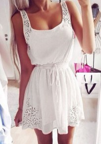 White Plain Hollow-out Drawstring Shoulder-Strap Dress