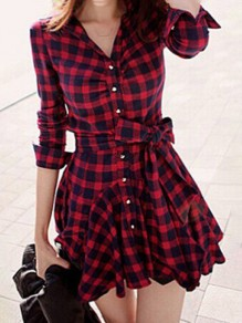 Red Plaid Tartan Chess Single Breasted Ruffle Belt Wavy Edge Elegant Vintage Mini Dress
