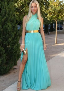 Blue Plain Pleated Cross Halter High-Slit Sleeveless Elegant Prom A-line Chiffon Maxi Dress