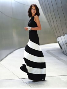 Black-White Striped Color Block Cross Back Round Neck Sleeveless Dress