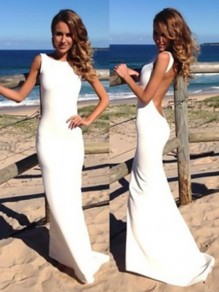 White Plain Shoulder-Strap Backless Maxi Dress