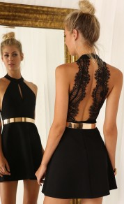 Black Plain Lace Spliced Cut Out Open Back Off-shoulder Halter Homecoming Mini Dress
