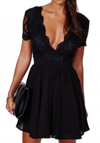 Black Plain Pleated Lace V-neck Short Sleeve Mini Dress