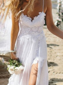 White Plain Condole Belt Lace Sexy Maxi Dress