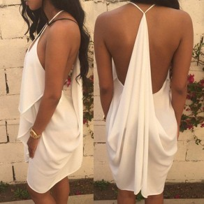 White Plain Draped Plunging Neckline Chiffon Mini Dress