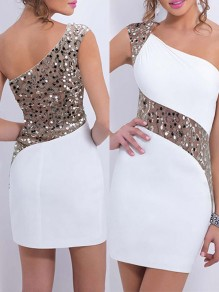 White Patchwork Lace Sequin Sparkly Asymmetric Shoulder Cocktail Evening Party Bridesmaid Mini Dress