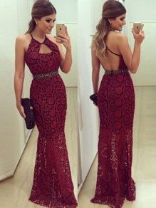Wine Red Plain Hollow-out Cut Out Backless Lace Dress