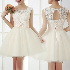 Beige Patchwork Embroidery Bow Flared Open Back Sweet Elegant Lace Tulle Mini Dress