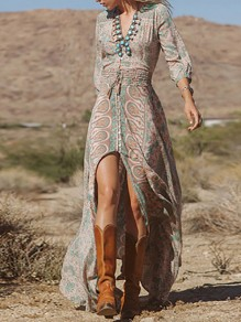 Multicolor Floral Print Irregular Sashes Front Slit V-neck Elastic Waist Seven's Sleeve High-Low Boho Maxi Dress
