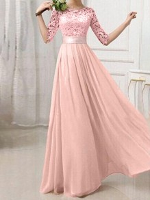 Pink Patchwork Lace Pleated Chiffon Fashion Maxi Dress