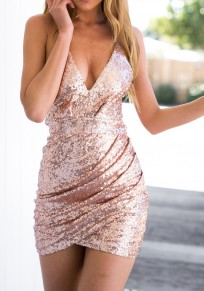 Golden Pink Sequin Spaghetti Strap Bodycon V-Neck Sleeveless Mini Dress