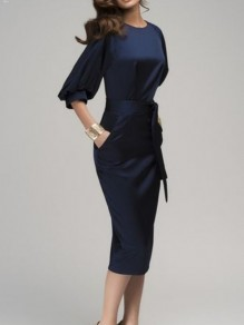 Navy Blue Belt Sashes Pockets Bodycon Elbow Sleeve OL Bussiness Classic Elegant Cocktail Midi Dress