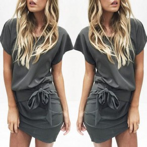 Grey Plain Sashes Irregular Pleated Short Sleeve Mini Dress