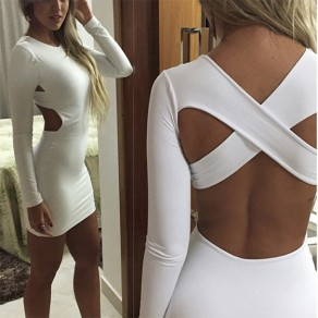 White Plain Cut Out Cross Back Round Neck Mini Dress