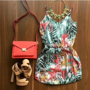Multicolor Floral Condole Belt V-neck Sleeveless Mini Dress