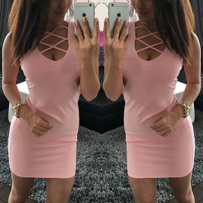 Pink Plain Cut Out Irregular Sleeveless Mini Dress