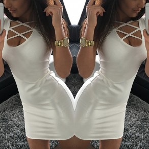 White Plain Cut Out Irregular Sleeveless Mini Dress