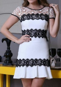 White Patchwork Black Lace Ruffle Short Sleeve Mini Dress