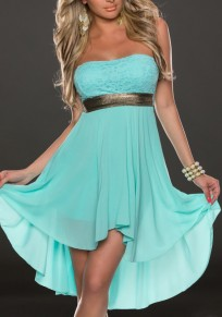 Blue Plain Draped Sleeveless Party Chiffon Mini Dress