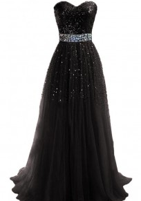 Black Patchwork Bandeau Sequin Sleeveless Polyester Maxi Dress