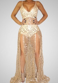 Apricot Gold Plian Sequin V-neck Backless Spaghetti Strap See-Through Slit Sexy Club Maxi Dress
