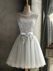 Grey Lace Bow Grenadine Lace-up Bridesmaid Elegant Tutu Homecoming Mini Girls Prom Dress