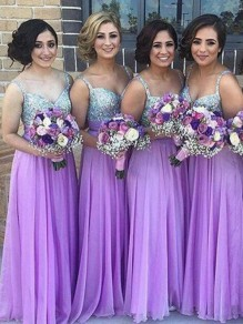Light Purple Patchwork Sequin V-neck Party Polyester Maxi Bridesmaid Dress