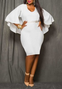 White Plain Irregular Cloak Cape Dolman Sleeve Plus Size Bodycon Sexy Midi Dress