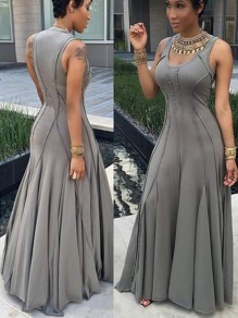 Grey Plain Pleated Round Neck Big Swing Plus Size Prom Evening Party Formal Maxi Dress