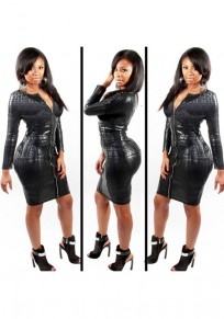 Black Plain Front Zipper Faux Leather Snake Print Clubwear Bodycon Mini Dress