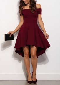 Burgundy Plain Off-Shoulder Draped High-low A-Line Swallowtail Elegant Homecoming Skate Midi Dress