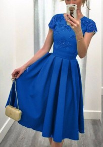 Blue Patchwork Pleated Bright Wire Backless Round Neck Midi Dress