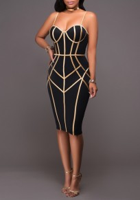 Black Geometric Gold Side Spaghetti Straps Bodycon NYE Clubwear Party Pencil Midi Dress