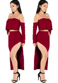 Wine Red Plain 2-in-1 Boat Neck Nylon Midi Dress
