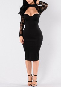 Black Patchwork Lace Hollow-out Cut Out See-through Halter Neck Bodycon Midi Dress