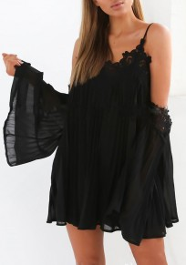 Black Patchwork Hollow-out Lace Condole Belt Draped Mini Dress