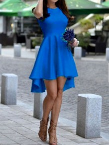 Blue Plain Irregular Round Neck Fashion Cotton Blend Midi Dress