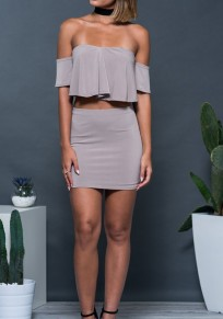 Grey Plain 2-in-1 Ruffle Bandeau Mini Dress