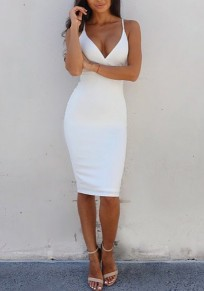 White Plain Shoulder-Strap Plunging Neckline Polyester Midi Dress
