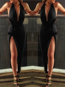 Black Plain Condole Belt Side Slit Plunging Neckline Maxi Dress