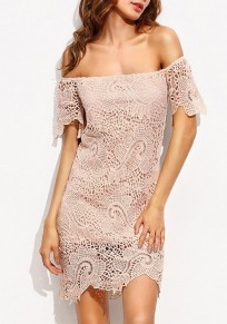 Pink Plain Wavy Edge Lace Hollow-out Boat Neck Off Shoulder Mini Dress