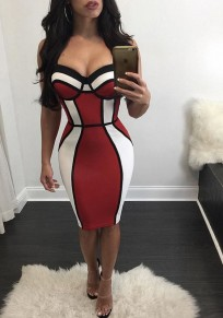 Multicolor Patchwork Spaghetti Straps Zipper Backless Bodycon Clubwear Evening Party Midi Dress