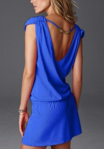 Blue Plain Drawstring V-neck Fashion Polyester Mini Dress