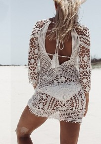 White Patchwork Lace Hollow-out Round Neck Mini Dress