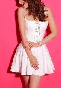 White Plain Pleated Drawstring Condole Belt Mini Dress