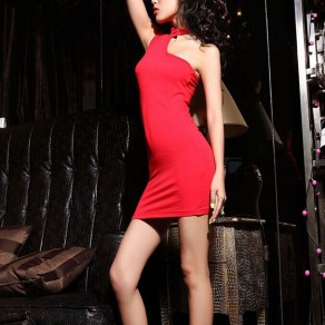 Red Plain Asymmetric Shoulder Halter Neck One-shoulder Bodycon Clubwear Mimi Dress