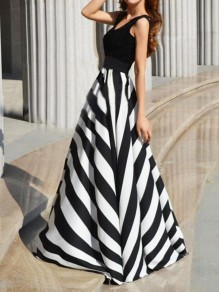 Black White Striped Print High Waisted Big Swing Formal Prom Maxi Dress