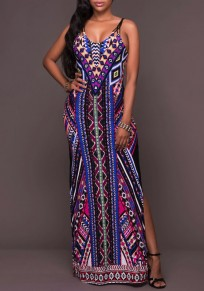 Blue Floral Tribal Geometric Print Cross Back Spaghetti Straps Side Slit Maxi Dress