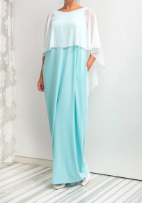 Light Blue Plain Draped Round Neck Fashion Chiffon Maxi Dress